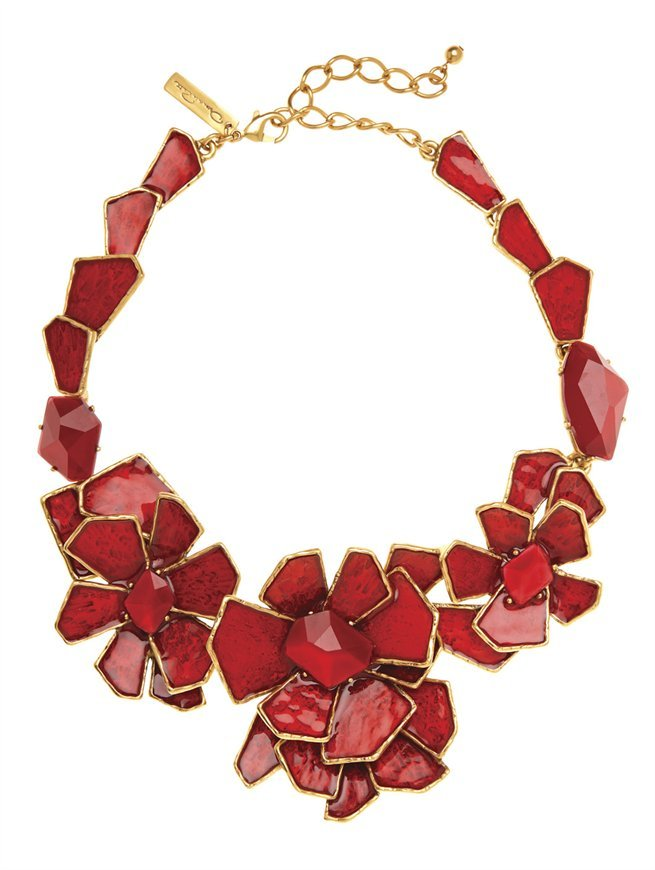Oscar de la Renta Large Floral Bib Necklace
