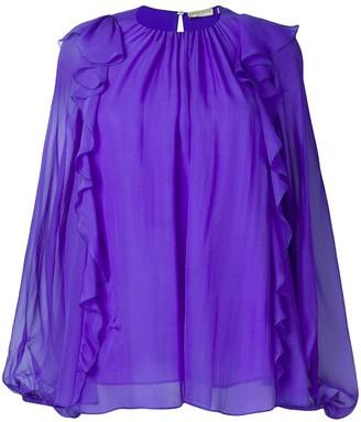 Emilio Pucci Ruffled Long-Sleeve Silk Top