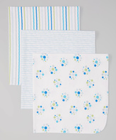 Luvable Friends 28'' x 28'' Blue Dot Receiving Blanket - Set of Three