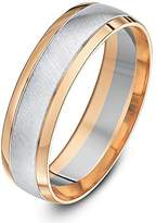 Theia Two Colours 9ct White and Rose Gold Court Shape Matt Centre 6mm Wedding Ring - Size U