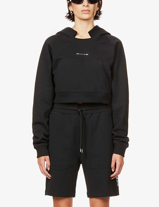 Alyx Visual cropped cotton-blend hoody