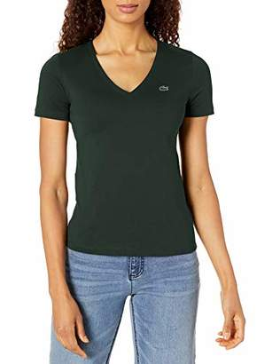 Lacoste Women's Short Sleeve Classic Supple Jersey V-Neck T-Shirt