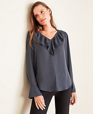 Ann Taylor Petite Houndstooth Ruffle V-Neck Blouse