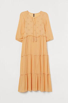 H&M H&M+ Embroidered Dress - Yellow