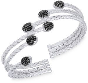 Rhona Sutton Stepped Rows Crystal Dome Cuff Bangle in Sterling Silver