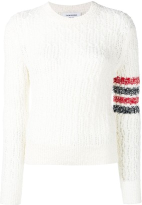 Thom Browne 4-Bar Open Stitch White Pullover