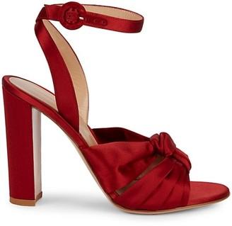 Gianvito Rossi Satin Knot Block Heel Sandals