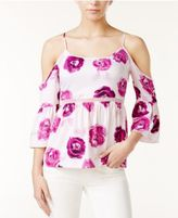 Kensie Floral-Print Cold-Shoulder Top