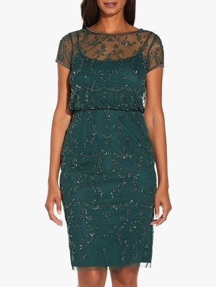 Adrianna Papell Beaded Short Dress, Dusty Emerald