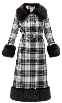 Shrimps River Faux-fur Trim Tartan Coat - Black Multi