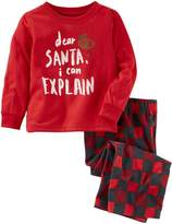 "Osh Kosh Oshkosh Bgosh Boys 4-14 Santa I can Explain"" 2-Piece Pajama Set"