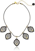 Miguel Ases Black Leather and Swarovski Diamond Shape 5-Station Necklace