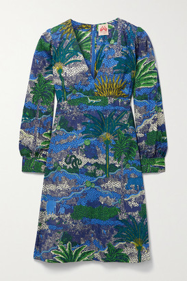Le Sirenuse Positano Agea Printed Cotton-poplin Dress - Blue