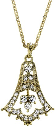 1928 Edwardian Bell Simulated Crystal Pendant Necklace