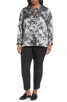 Lafayette 148 New York Plus Size Women's Eli Print Silk Blouse