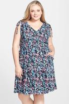 Sejour Tie Shoulder Fit & Flare Dress (Plus Size)