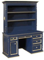 The Well Appointed House Hand Painted Navy Computer Desk with Hutch