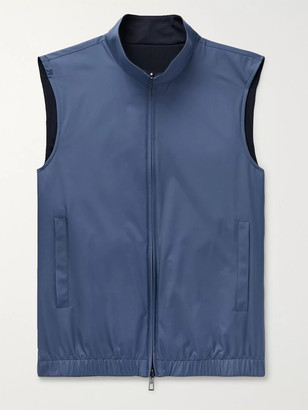 Loro Piana Slim-fit Reversible Storm System Shell And Super Wish Virgin Wool Gilet - Blue