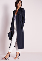 Missguided Tall Exclusive Military Trench Coat Navy