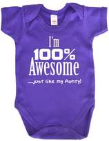 Dirty Fingers, I'm 100% Awesome, just like my Aunty, Baby Girl Bodysuit, 6-12m