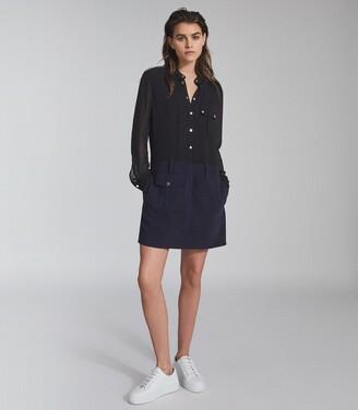 Reiss Tia - Semi Sheer Detailed Mini Dress in Navy/Black