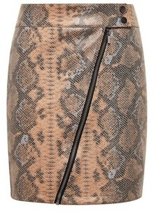 Dorothy Perkins Womens Vila Multi Colour Snake Print Zip Detail Mini Skirt