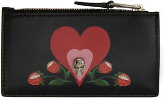 Alexander McQueen Black Small Skull Heart Zip Card Holder