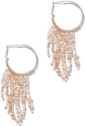 New York & Co. Beaded Tassel Hoop Earring