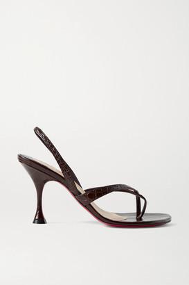Christian Louboutin Taralita 85 Croc-effect Leather Slingback Sandals - Dark brown