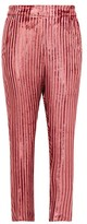 Ann Demeulemeester Illume Striped Velvet-lame Tapered Trousers - Womens - Pink