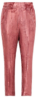 Ann Demeulemeester Illume Striped Velvet-lame Tapered Trousers - Pink
