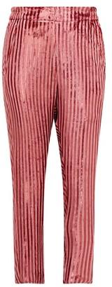 Ann Demeulemeester Illume Striped Velvet-lame Tapered Trousers - Womens - Pink