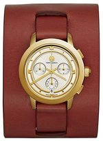 Tory Burch Farrier Watch, Burgundy Leather/Gold-Tone Chronograph, 37 Mm