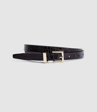Reiss Olive - Leather Skinny Belt in Black