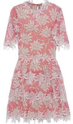 Valentino Tiered Appliqued Floral-print Silk-chiffon Dress