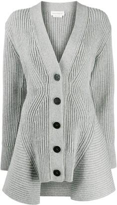 Alexander McQueen Peplum Rib-Knit Cardigan