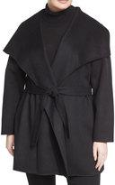 T Tahari Plus Handmade Wool-Blend Belted Coat, Black, Plus Size