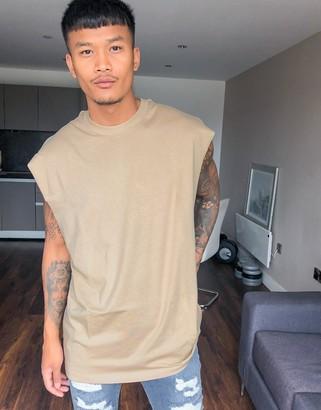 ASOS DESIGN organic oversized sleeveless t-shirt in beige
