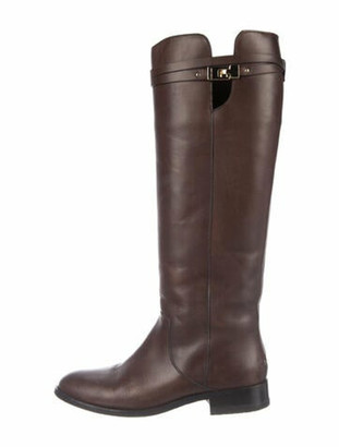 Jimmy Choo Hyson Leather Riding Boots Brown