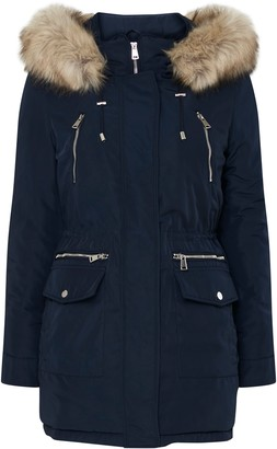 Wallis Navy Faux Fur Hood Parka Coat