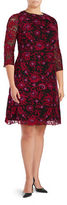 Adrianna Papell Plus Three Quarter Sleeve Floral Embroidered Fit-and-Flare Dress