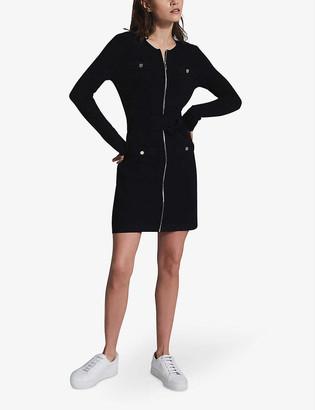 Reiss Emily zip-front knitted mini dress