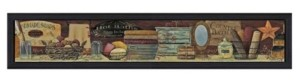 "Trendy Décor 4U Country Bath Shelf By Pam Britton, Printed Wall Art, Ready to hang, Black Frame, 39"" x 9"""