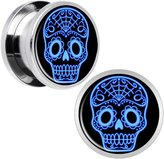 Body Candy Stainless Steel Blue Sugar Skull Screw Fit Plug Pair 9/16""