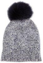 Sofia Cashmere Marled Cashmere Pompom Beanie Hat, Navy