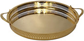 One Kings Lane Vintage Gold-Plated Pierced Serving Tray - Eat Drink Home