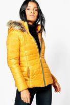 Boohoo Sarah Faux Fur Hood Quilted Jacket