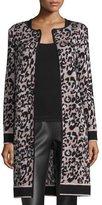 M Missoni Metallic Animal-Print Long Coat, Blush