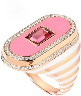 State Property Battuta Pink Tourmaline and Enamel Ring