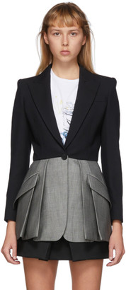 Alexander McQueen Black and Grey Colorblock Blazer
